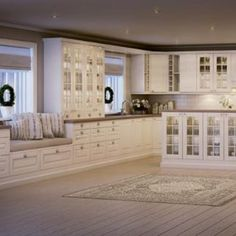 Bilderesultat for herregårdskjøkken Interior Inspiration, Kitchen Cabinets, Doors, Outdoor Decor, Kitchens, Design, Home Decor, Ideas, Kitchen Cabinetry