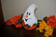 Gus the Ghost Hand Painted Gourd Table Decor