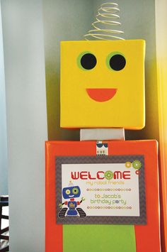 life size welcome sign robot