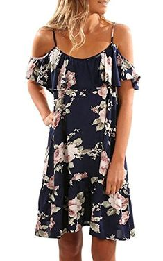 Womens Floral Print Knee Length Cut Out Cold Shoulder Spaghetti Strap Midi  Dress (S a9cd566c1ca8
