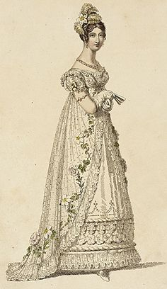 Ackermann's Repository, Full Dress, January 1817.  So delightful with the flowers!