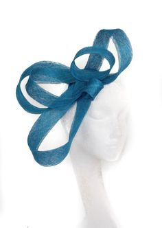 Dark Turquoise Feather Fascinator Hat for Weddings/Ascot/Proms With Headband