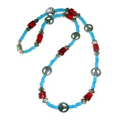 Red Blue and Silver Beaded Necklace with by CloudNineDesignz