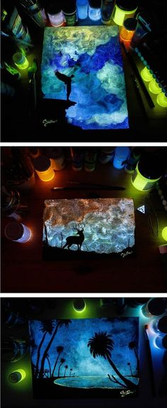 Glow in the dark paintings by Crisco Art #glowinthedark #mural #glowinthedarkpainting