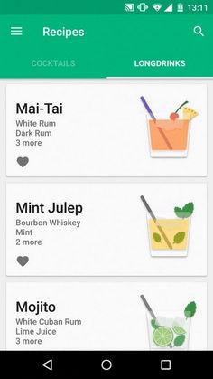 Beautiful List Ui For Mobile App Ios App Design, Android Design, Android Ui, Web Design, Mobile Ui Design, Flat Design, Graphic Design, Cocktail App, Card Ui