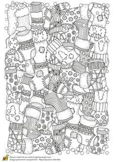 Dessin à colorier pour un hiver zen, mur de chaussettes de Noël - Hugolescargot.com