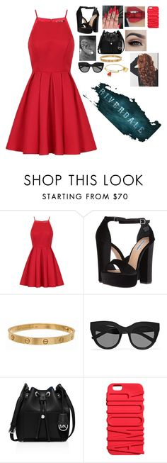 """""""~Riverdale~ Cheryl Blossom"""" by s2a4m ❤ liked on Polyvore featuring Chi Chi, Steve Madden, Cartier, Le Specs and MICHAEL Michael Kors"""