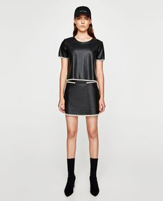 ZARA - WOMAN - CONTRASTING FAUX LEATHER MINI SKIRT