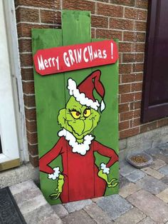 Christmas Porch Decor Grinch Pallet Wood Sign Christmas Porch Decor Grinch Pallet Wood Sign The post Christmas Porch Decor Grinch Pallet Wood Sign appeared first on Pallet Diy. Grinch Party, Le Grinch, Grinch Christmas Party, Christmas Yard Art, Christmas Wood Crafts, Pallet Christmas, Christmas Signs Wood, Grinch Stuff, Christmas Phrases