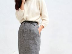 {style inspiration | at the office : a wool skirt & a pretty lace collar} by {this is glamorous}, via Flickr