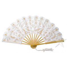 Large White Battenburg Lace Hand Fan