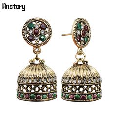 Turkish Maple Leaf Resin Crystal Earrings Stud For Women Bell Pendant  Antique Gold Color Fashion Jewelry 4e2013479808