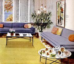 Living room decor, 1956.