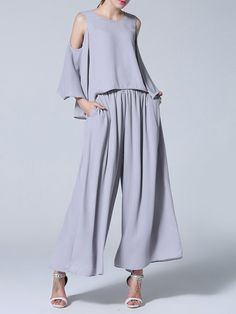 Shop Jumpsuits - Gray Plain Ruffled Casual Jumpsuit online. Discover unique designers fashion at StyleWe.com.
