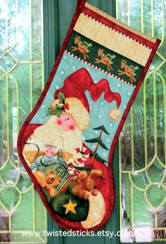 Quilted Christmas Stocking Santa Christmas by twistedsticks Christmas Images, Santa Christmas, Christmas Crafts, Quilted Christmas Stockings, Santa Sack, Hand Quilting, Christmas Inspiration, Sacks, Quilts