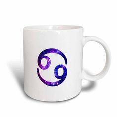 3dRose Cancer star sign - crab zodiac glyph - astrological horoscope symbol, Ceramic Mug, 15-ounce