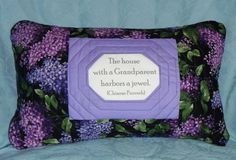 Talking Quilted Pillow Grandparent Gift Lilacs by AWordFitlySpoken, $28.50