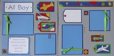 ALL BOY 12x12 Premade Scrapbook Pages  AiRPLaNE by JourneysOfJoy, $14.50