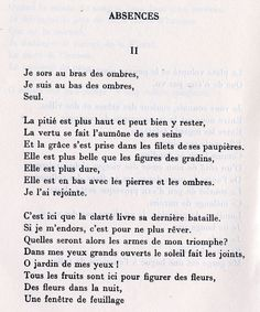 Paul Éluard • Absences (Capitale de la douleur) Texte En Prose, Word Line, Inspirational Speeches, Lines Quotes, Say Word, Poems Porn, French Language Learning, French Quotes, Writing Quotes