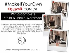 #MakeItYourOwn Pinterest Contest - Win a complete Fall Wardrobe from us! #stellaandjamie #giveaway #fashion :http://www.stellaandjamie.com/makeityourown-pinterest-contest/