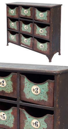 Stylish organization is as easy as 1, 2, 3. Our Margeaux Cabinet is crafted with metal and features nine numbered bins. This rustic piece adds Parisian charm to your home interior.  Find the Margeaux Cabinet, as seen in the The Inventor's Lab Collection at http://dotandbo.com/collections/the-inventors-lab-1?utm_source=pinterest&utm_medium=organic&db_sku=120663