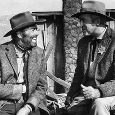 Old friends Henry Fonda and James Stewart laugh heartily on the set of Firecreek Western Film, Western Movies, Cowboy Western, Hollywood Icons, Hollywood Actor, Jack Elam, Inger Stevens, Ed Begley, Randolph Scott