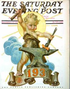 Happy New Year 1930-12-27: Forging a New Year (J.C. Leyendecker) Saturday Evening Post