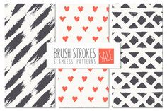 Brush Strokes Seamless Patterns SALE by Curly_Pat on Creative Market
