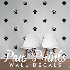 Paw Prints Wall Decal Pack Modern Geometric Pattern by DecalLab