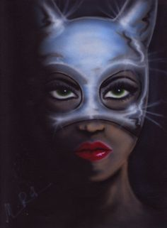 chrome masked catwoman Airbrush Art, Catwoman, Chrome, Joker, Painting, Fictional Characters, Painting Art, The Joker, Paintings