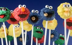 Sesame Street cake pops from Bakerella!  Are they they cutest or what?  (Visit Bakerella and you will be inspired!  Amazing stuff!)