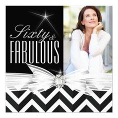 Fabulous 60 Photo Chevron Black White Birthday Custom Invitations