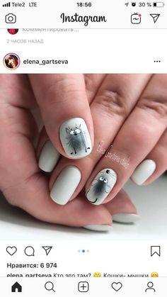 Pin by marian walent on Nail stuff in 2019 Cat Nail Art, Animal Nail Art, Cat Nails, Pink Nails, Nail Polish Designs, Nail Art Designs, Picasso Nails, Nailart, Nails For Kids