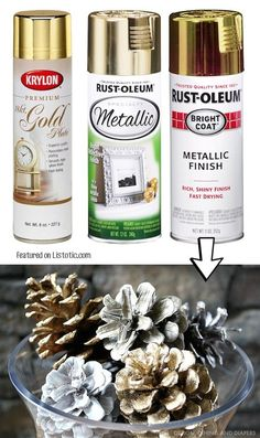 Spray paint pinecones for pretty Christmas decor! -- 29 Cool Spray Paint Ideas That Will Save You A Ton Of Money Spray paint pinecones for pretty Christmas decor! -- 29 Cool Spray Paint Ideas That Will Save You A Ton Of Money Diy Spray Paint, Spray Painting, Painting Tricks, Spray Paint Projects, Holiday Crafts, Christmas Crafts, Christmas Decorations, Cheap Christmas, Xmas