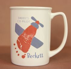 Perfect gift for any pilot or plane enthusiast! A keepsake made from your child's footprint! Great for Father's Day or just because! myforeverprints.com