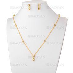 juego collar y aretes de cristal brillo en acero dorado inoxidable - SSNEG503555
