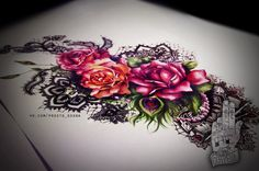 flower lace tattoo