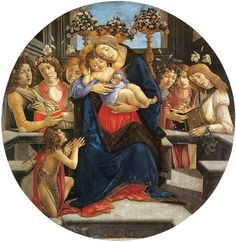 ❤ - SANDRO BOTTICELLI ( 1445 - 1510) -  Virgin and child with six angels and St John the Baptist.