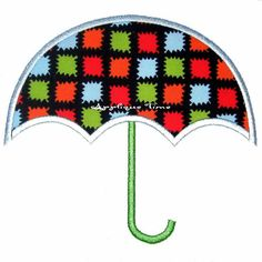 Umbrella Machine Embroidery Applique Design 4x4 by appliquetime, $2.50