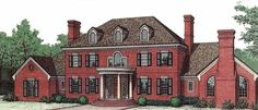 Adam - Federal House Plan with 4594 Square Feet and 5 Bedrooms from Dream Home Source | House Plan Code DHSW49163