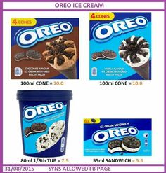 Slimming World Syn Values, Slimming World Tips, Slimming World Desserts, Slimming World Recipes, Oreo Ice Cream, Chocolate Cream, Oreo Biscuits, Oreo Flavors, Vanilla Flavoring