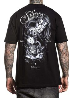 We're adding his self-titled design into the Artist Series vault. Woven Sullen Badge label on left sleeve. Set-in rib collar with shoulder-to-shoulder taping. Traditional Tattoo Sleeve Filler, Tattoo Shirts, Tattoo Clothing, Cute Lazy Outfits, Classic Tattoo, Shoulder Taping, Sleeves, Mens Tops, Spin