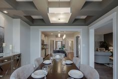 The eating nook is huge and the ceiling is such a lovely design element. New Shows, New Builds, Model Homes, Nook, Gabriel, Floor Plans, Dining Room, Ceiling, Interior Design