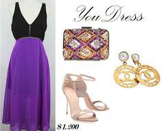 Vestido lila y negro.  Party Look.  https://m.facebook.com/YouDressUru