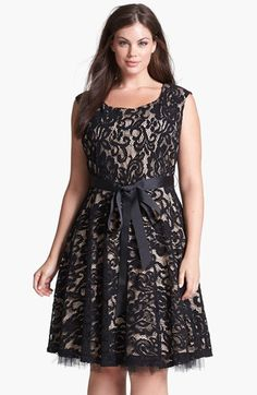 Plus Size Women's Betsy & Adam Lace Fit & Flare Dress  Sumptuous lace overlays a gorgeous cap-sleeve dress with decadent texture while a grosgrain ribbon ensures a feminine silhouette.   affiliate link