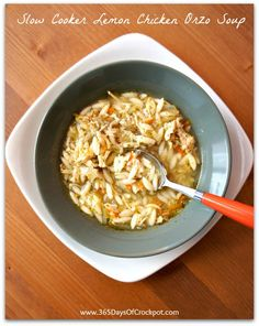 Slow Cooker Chicken Lemon Orzo Soup