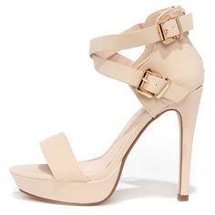 bonnibel Raise the Roof Nude Nubuck Platform Sandals featuring polyvore, fashion, shoes, sandals, heels, tan, high heels stilettos, tan platform sandals, peep toe sandals, ankle strap high heel sandals and high heel sandals