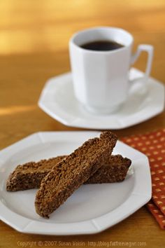 Fat-Free, Gluten-Free Gingerbread Biscotti. Delicious and makes the home smell yummy.