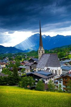 The Maria Alm municipality in Salzburg in Austria. Especially known for winter tourism, it has a network of 28 ski areas and towns that together make up the largest ski area in Europe.