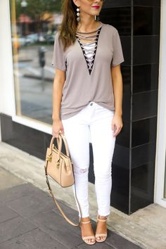 Grey Lace Up Tee. Gr